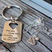 Daddy's Heart Keychain set