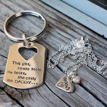 Daddy's Heart Keychain set