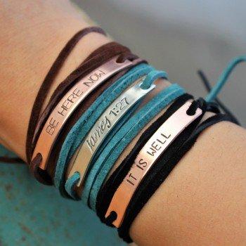 Leather wrap tie bracelet